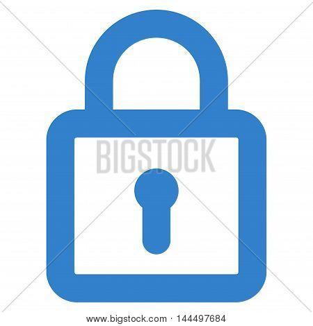 Lock vector icon. Style is stroke flat icon symbol, cobalt color, white background.