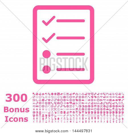 Checklist Page icon with 300 bonus icons. Vector illustration style is flat iconic symbols, pink color, white background.