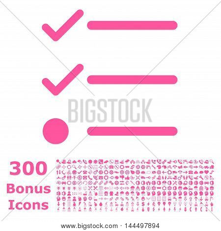Checklist icon with 300 bonus icons. Vector illustration style is flat iconic symbols, pink color, white background.