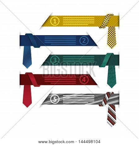 5 steps infographic elements with stylish ties and hidden ribbons vector template