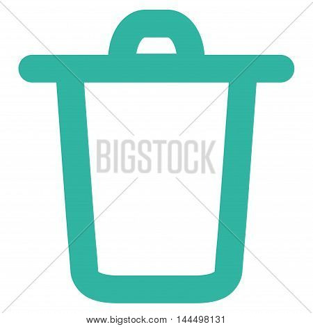 Bucket vector icon. Style is stroke flat icon symbol, cyan color, white background.