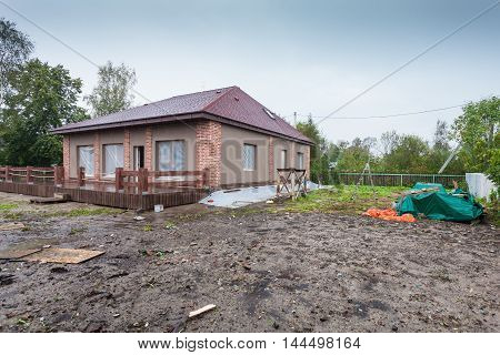 The building is under construction and the materials for construction