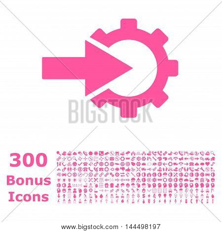 Cog Integration icon with 300 bonus icons. Vector illustration style is flat iconic symbols, pink color, white background.