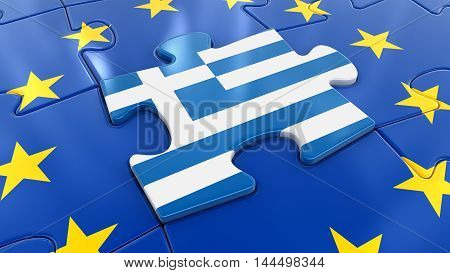 3D Illustration. Greece Jigsaw as part of EU