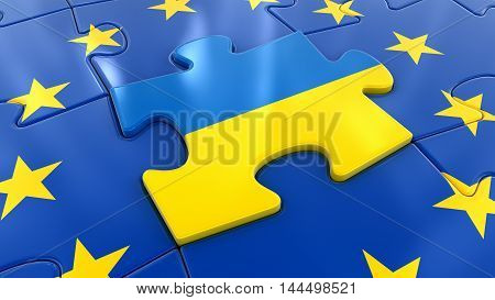3D Illustration. Ukraine Jigsaw as part of EU