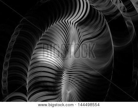 Abstract beautiful grey fractal on black background