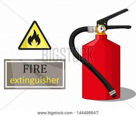 Fire Extinguisher Sign Flammable And The Inscription On The White Background