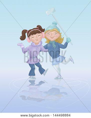 Two girls ice skating and taking selfie. Cute cartoon characters at skating rink