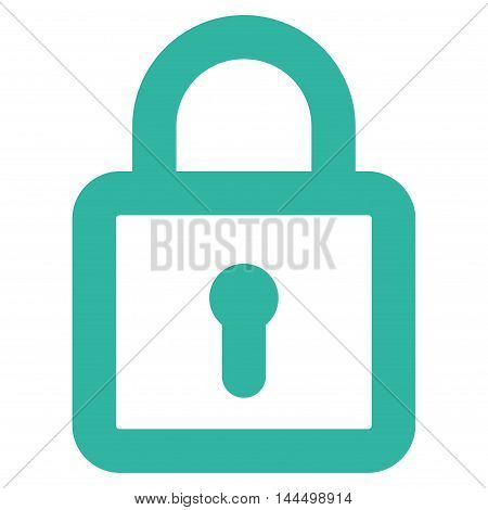 Lock vector icon. Style is outline flat icon symbol, cyan color, white background.