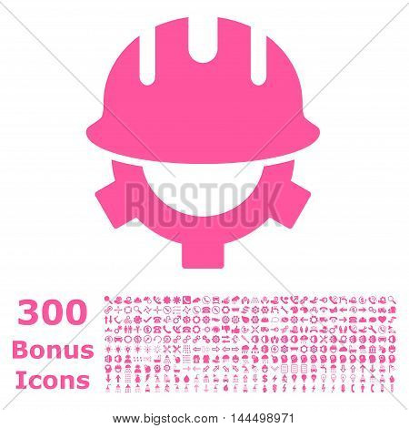 Development Helmet icon with 300 bonus icons. Vector illustration style is flat iconic symbols, pink color, white background.
