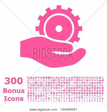 Development Service icon with 300 bonus icons. Vector illustration style is flat iconic symbols, pink color, white background.