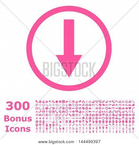Down Rounded Arrow icon with 300 bonus icons. Vector illustration style is flat iconic symbols, pink color, white background.