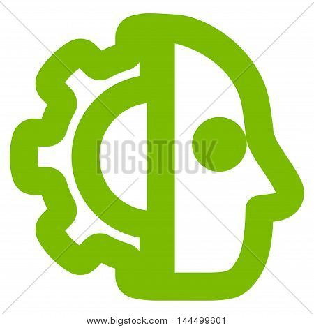 Cyborg vector icon. Style is contour flat icon symbol, eco green color, white background.