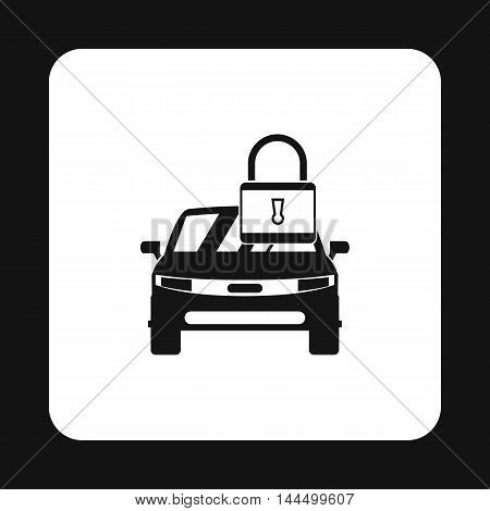 Car is under protection icon in simple style isolated on white background. Security symbol