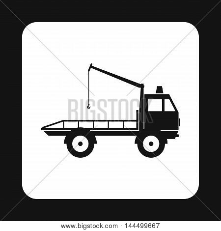 Tow truck icon in simple style isolated on white background. Transport and service symbol