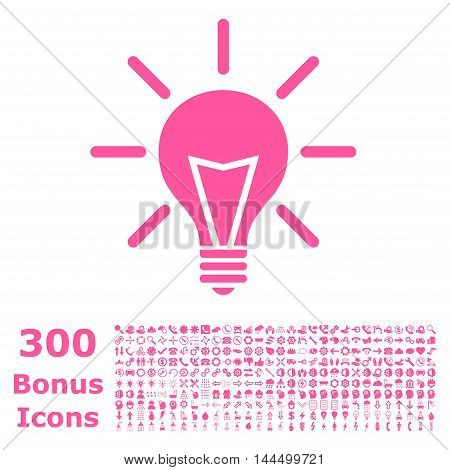 Electric Light icon with 300 bonus icons. Vector illustration style is flat iconic symbols, pink color, white background.