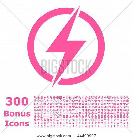 Electricity icon with 300 bonus icons. Vector illustration style is flat iconic symbols, pink color, white background.