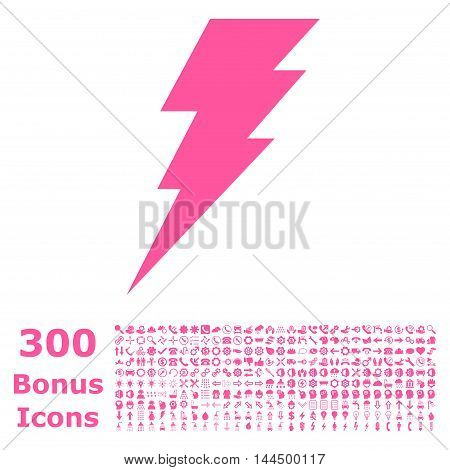 Execute icon with 300 bonus icons. Vector illustration style is flat iconic symbols, pink color, white background.