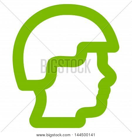 Soldier Head vector icon. Style is stroke flat icon symbol, eco green color, white background.