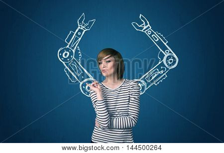 Pretty young woman with robotic arms concept