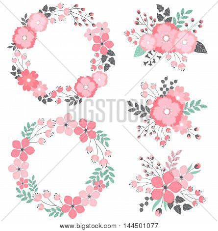 Vector pink floral wreath and bouquets set