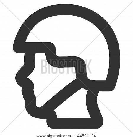 Soldier Head vector icon. Style is stroke flat icon symbol, gray color, white background.