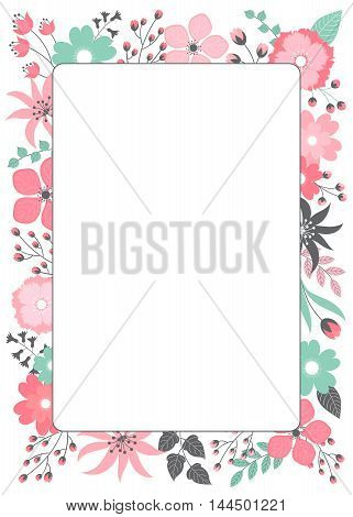 Vector pink and green pastel floral card