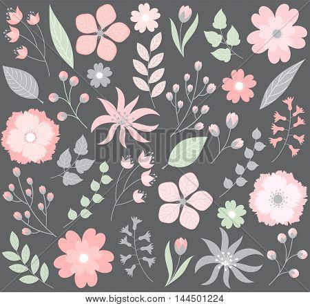 Vector pink and grey pastel floral set