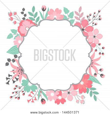 Vector pastel pink and green floral card