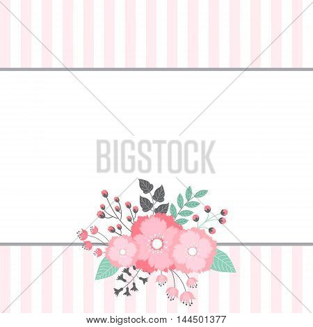 Vector card template with floral bouquet and stripe background