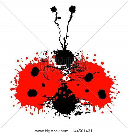 Vector hand drawn watercolor ladybug. Artistic creative colorful graphic ilustration with splash blots and smudge isolated on the white background.