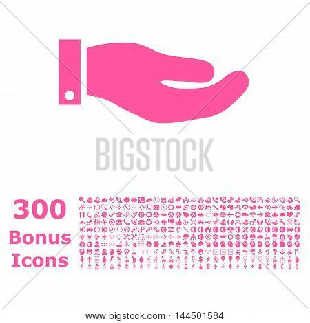 Hand icon with 300 bonus icons. Vector illustration style is flat iconic symbols, pink color, white background.