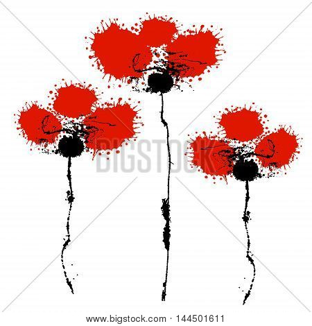 Vector hand drawn watercolor flowers. Artistic creative colorful graphic ilustration of poppy with splash blots and smudge isolated on the white background.