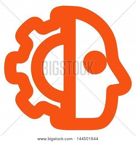 Cyborg vector icon. Style is stroke flat icon symbol, orange color, white background.