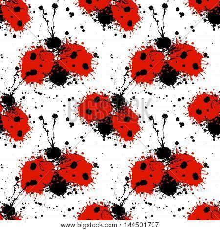 Vector hand drawn watercolor seamless pattern with ladybug. Artistic creative colorful graphic ilustration with splash blots and smudge. Endless vector background graphic illustration