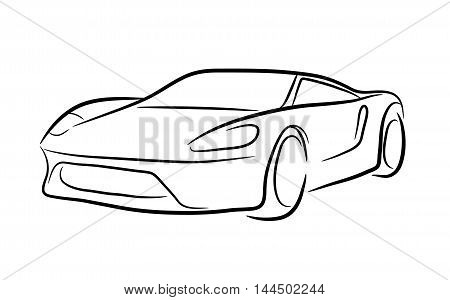 Exotic Car Outline. A hand drawn vector contour illustration of an exotic car.