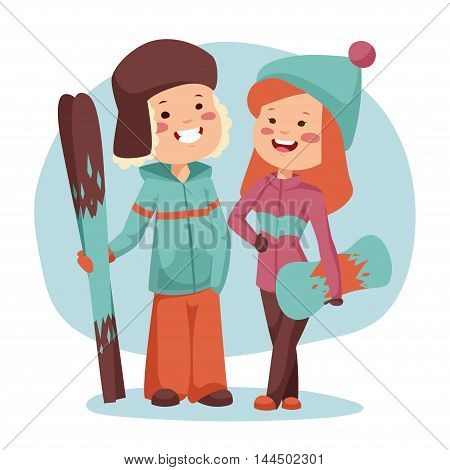 Winter sports vector illustration. Boy and girl have a rest after the descent.
