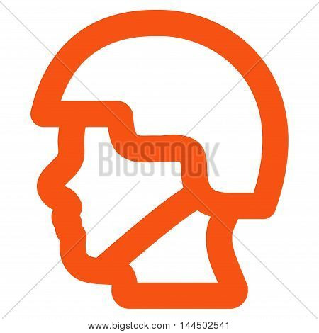 Soldier Head vector icon. Style is stroke flat icon symbol, orange color, white background.