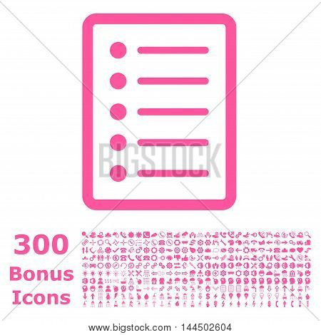 List Page icon with 300 bonus icons. Vector illustration style is flat iconic symbols, pink color, white background.