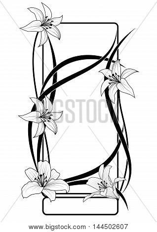 vector frame with flowers of lily in black and white colors