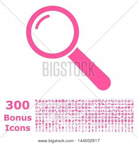 Magnifier icon with 300 bonus icons. Vector illustration style is flat iconic symbols, pink color, white background.
