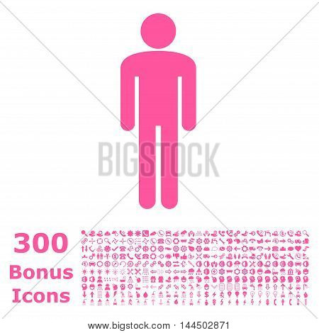 Man icon with 300 bonus icons. Vector illustration style is flat iconic symbols, pink color, white background.