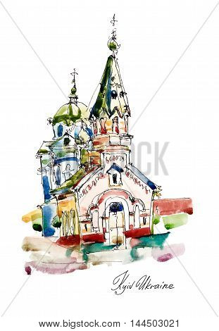 freehand sketch watercolor painting of Church in Podol Kyiv Ukraine, pleinair artwork vector illustration