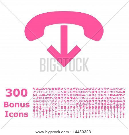 Phone Hang Up icon with 300 bonus icons. Vector illustration style is flat iconic symbols, pink color, white background.