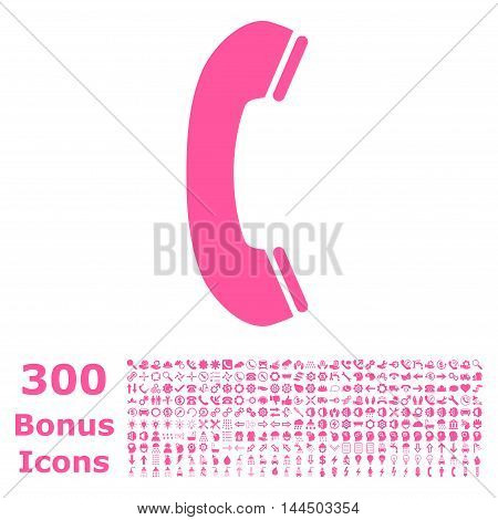 Phone Receiver icon with 300 bonus icons. Vector illustration style is flat iconic symbols, pink color, white background.