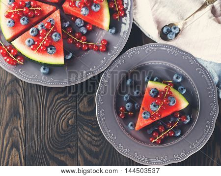 Slice Of Watermelon With Blueberries