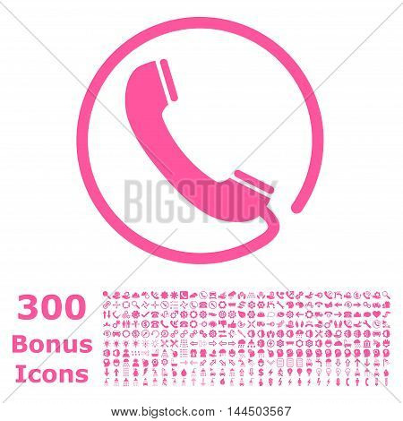 Phone icon with 300 bonus icons. Vector illustration style is flat iconic symbols, pink color, white background.