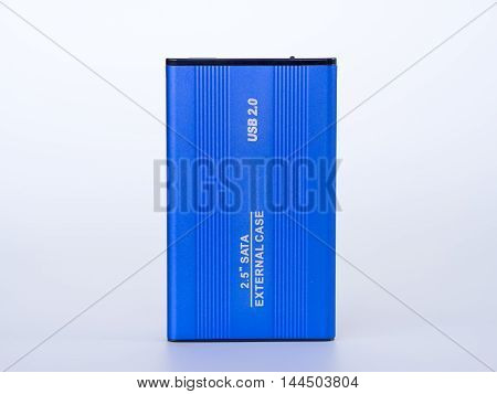 blue external case 2.5 inch isolated on the white background.
