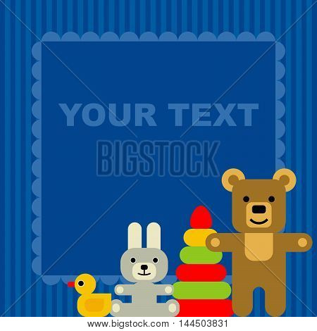 card for congratulation with toys, vector cartoon illustration