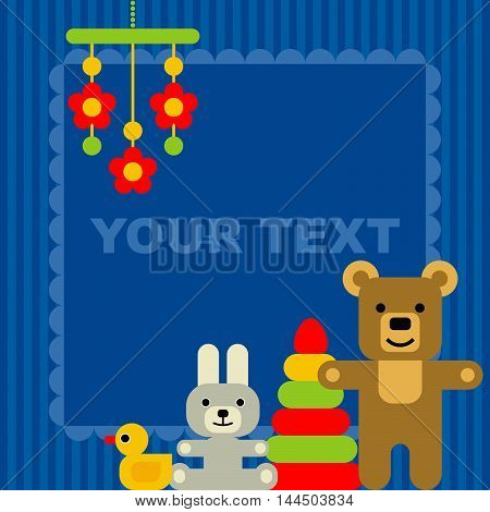 card for congratulation with toys, vector cartoon illustration
